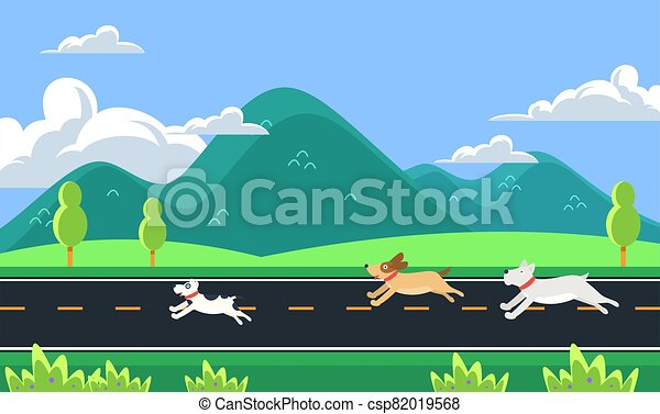 dogs are running on the road in the morning - csp82019568