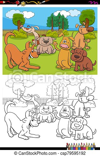 dogs cartoon characters group coloring book page - csp79595192