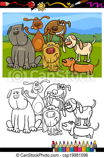 dogs group cartoon coloring book - csp19981096