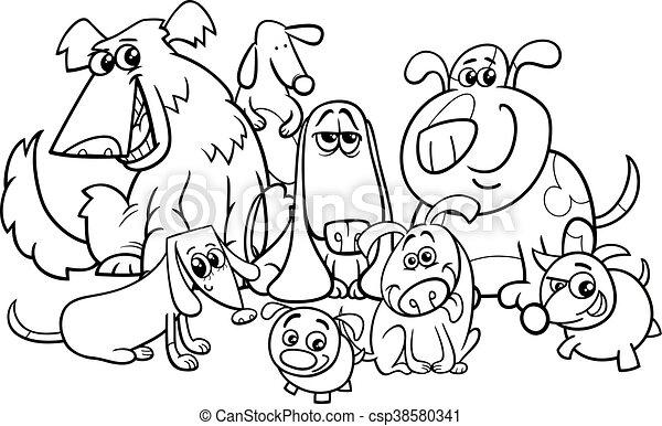 dogs group cartoon coloring book - csp38580341