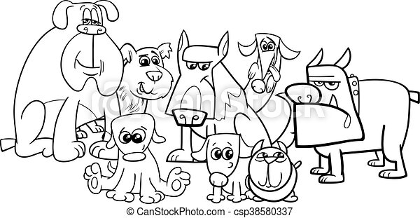 Dogs group coloring book. Black and white cartoon... vectors ...