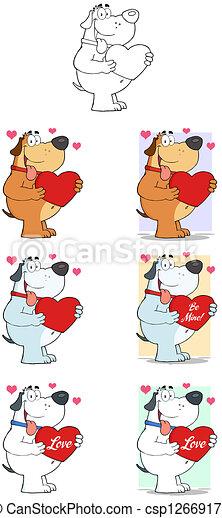 Dogs Holding Valentine Heart - csp12669179