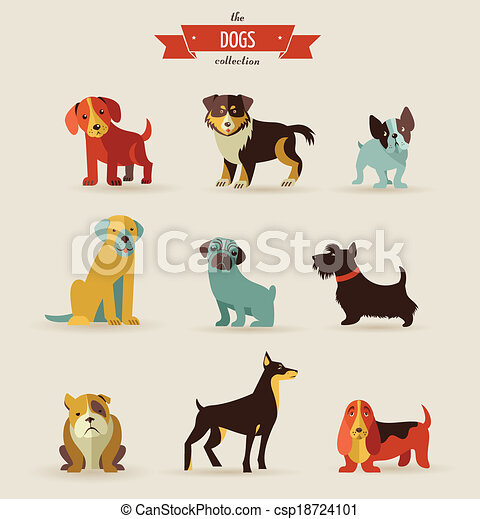 Dogs icons and illustrations - csp18724101