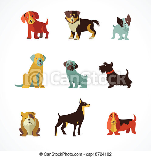 Dogs icons and illustrations - csp18724102