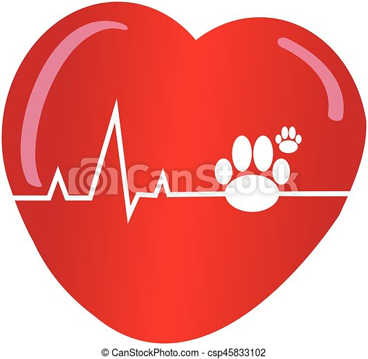 Dogs paw with heart on white background - csp45833102