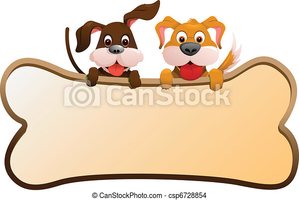 Dogs with banner - csp6728854
