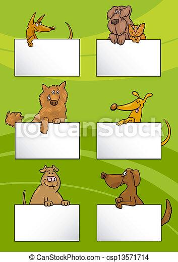 dogs with cards cartoon design set - csp13571714