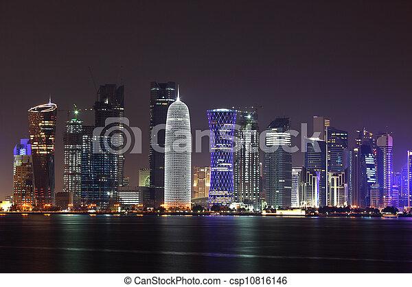 Doha skyline at night, Qatar, Middle East - csp10816146