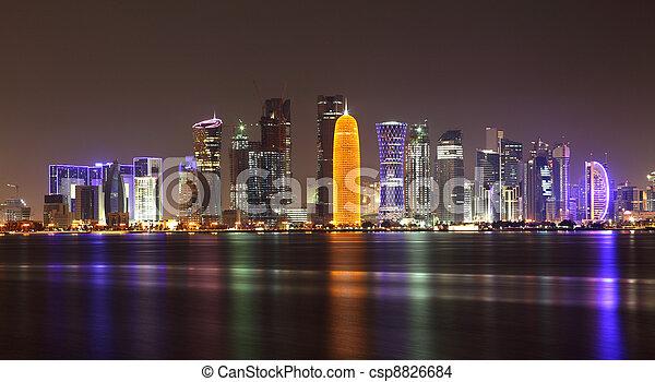 Doha skyline at night, Qatar, Middle East - csp8826684