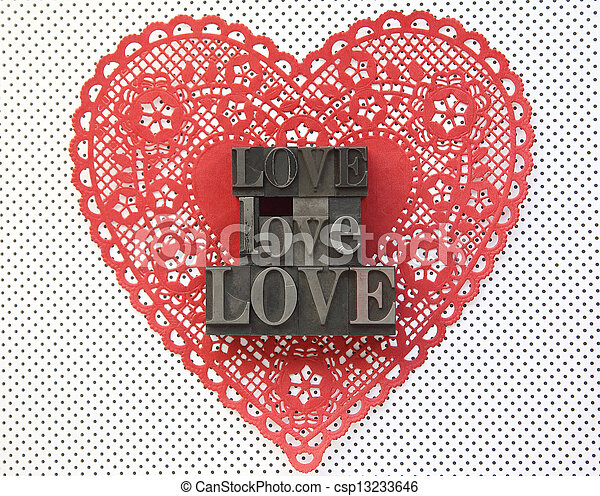 doily heart with love words - csp13233646