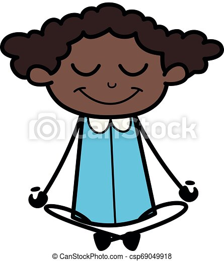 Doing Yoga With Smiling Face Retro Black Office Girl Cartoon Vector Illustration