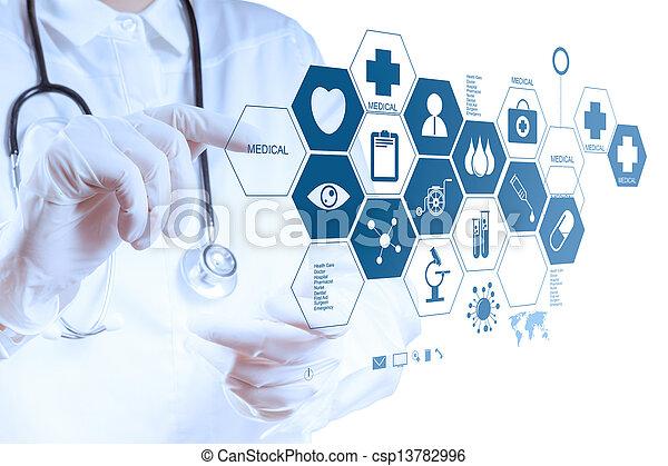 doktor, arbeitende , modern, schnittstelle, edv, hand, medizinprodukt - csp13782996