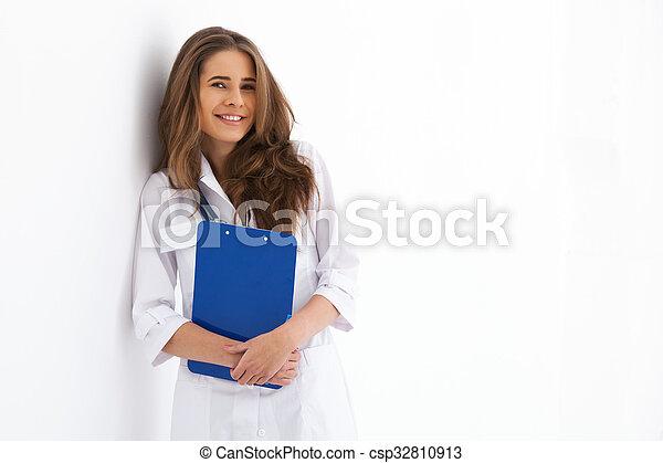 doktor, młody, odizolowany, white., portret, szczęśliwy - csp32810913
