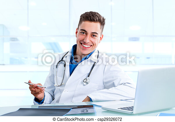 doktor, medizin, buero, x, mann, laptop, rays. - csp29326072