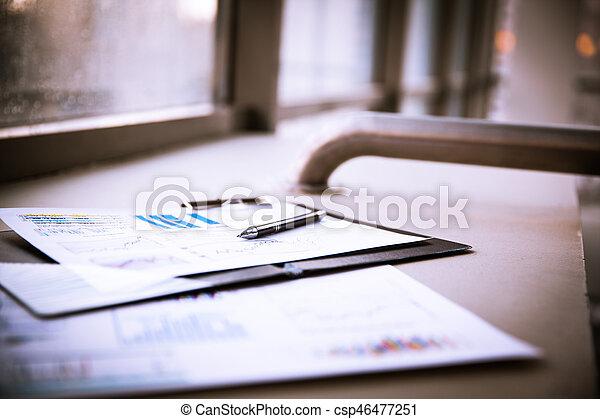dokumenty, handlowy, wykresy, wzrost, klawiatura, pen. - csp46477251