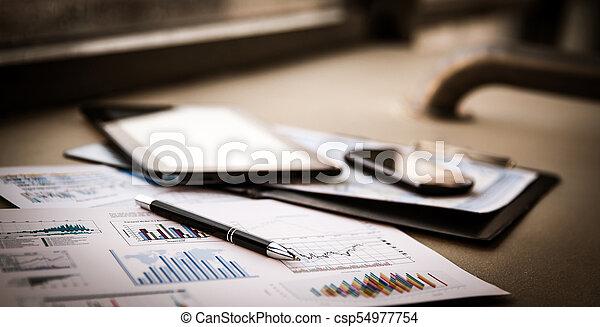 dokumenty, handlowy, wykresy, wzrost, klawiatura, pen. - csp54977754