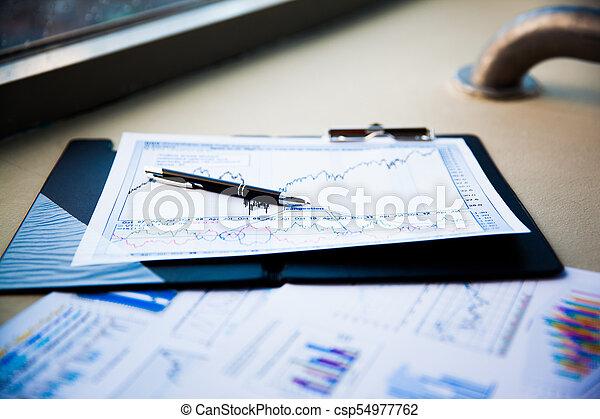 dokumenty, handlowy, wykresy, wzrost, klawiatura, pen. - csp54977762
