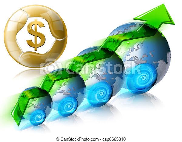 dolar, finansowy, dodatni - csp6665310