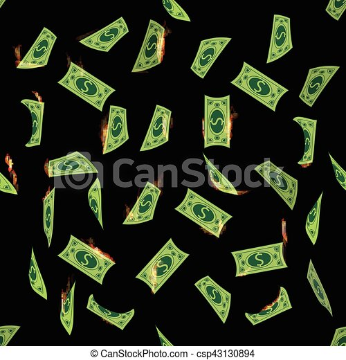 Dolar Money Flying Into The Fire Seamless Pattern Simple Fashion
