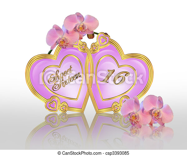 dolce, 16, grafico, compleanno, orchidee - csp3393085