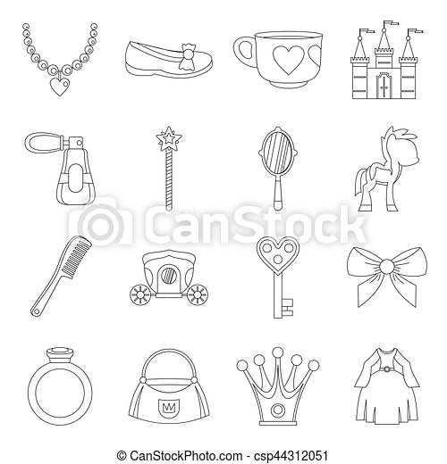 Doll princess items icons set, outline style - csp44312051