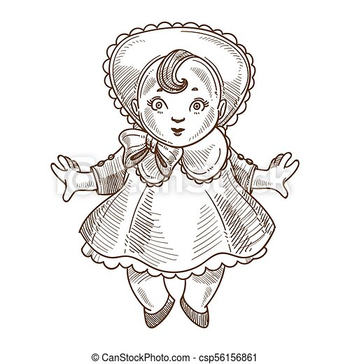 Doll Retro Toy Sketch Vector Hand Drawn Isolated Vintage Cartoon