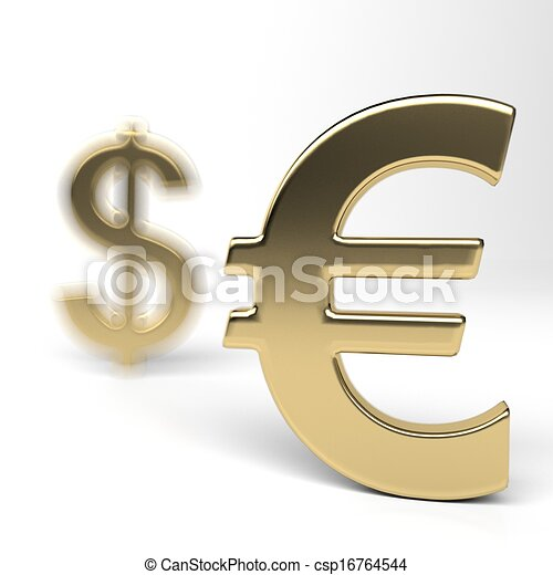 Dollar And Euro Money Symbols Dollar In The Shadow Of The