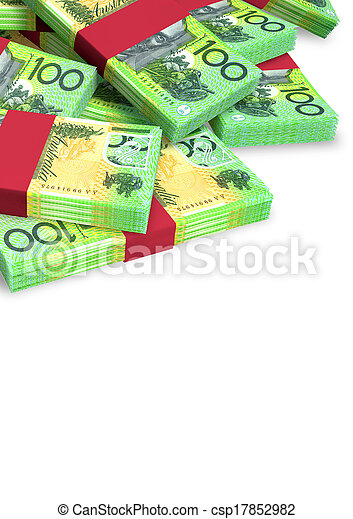 dollar, australien, dispersé, notes, tas - csp17852982