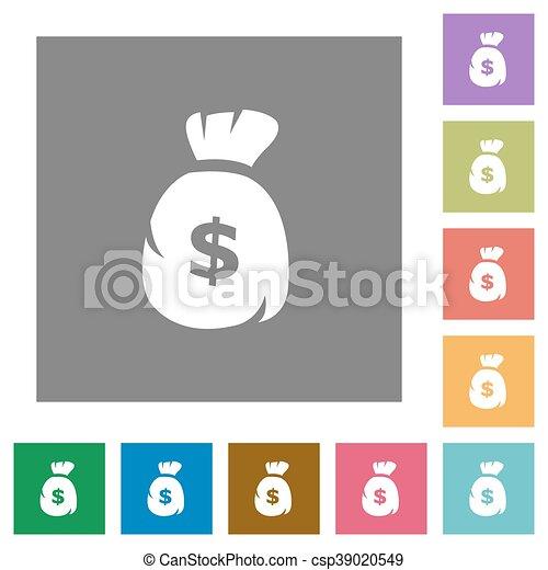 Dollar bag square flat icons - csp39020549