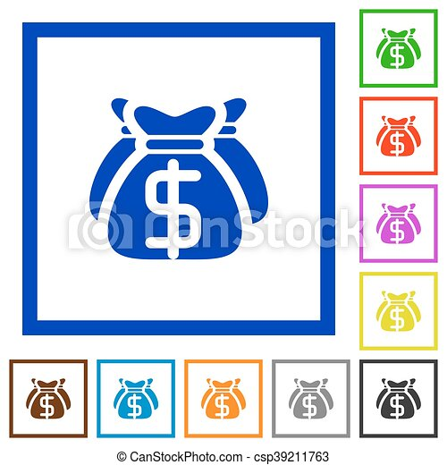 Dollar bags framed flat icons - csp39211763