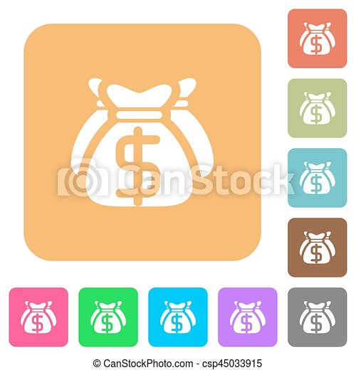 Dollar bags rounded square flat icons - csp45033915