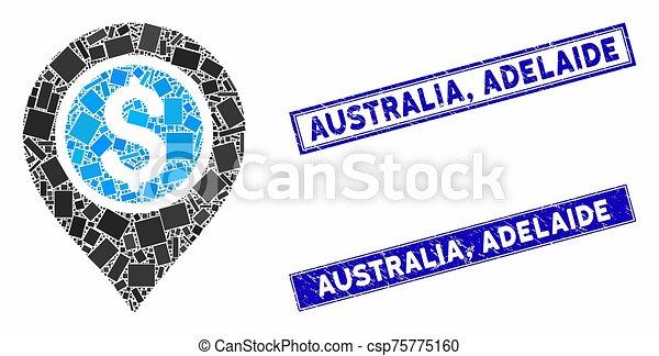 Dollar Bank Pointer Mosaic and Grunge Rectangle Australia, Adelaide Stamp Seals - csp75775160