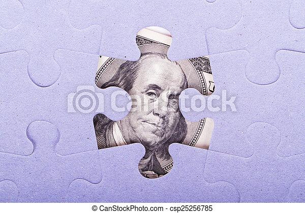 Dollar Banknote between Puzzle Pieces - csp25256785