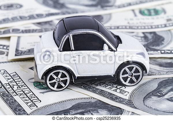Dollar Banknotes and Toy Car - csp25236935