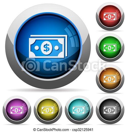 Dollar banknotes button set - csp32125941