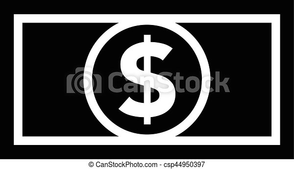 Dollar bill icon black and white - csp44950397