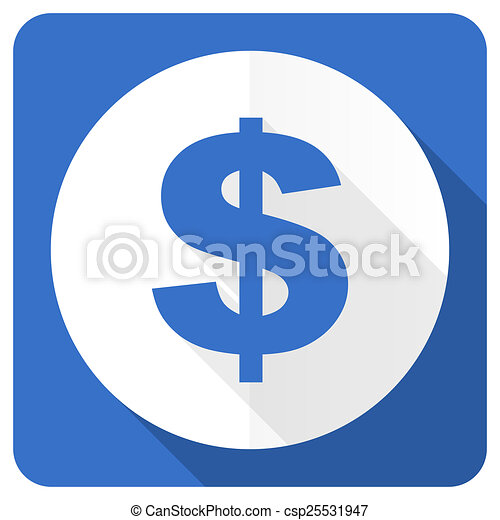dollar blue flat icon us dollar sign - csp25531947