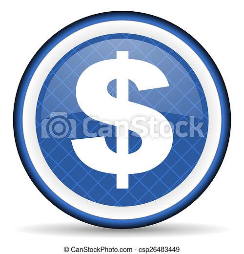 dollar blue icon us dollar sign - csp26483449