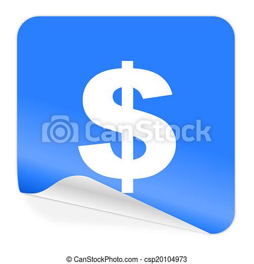 dollar blue sticker icon - csp20104973
