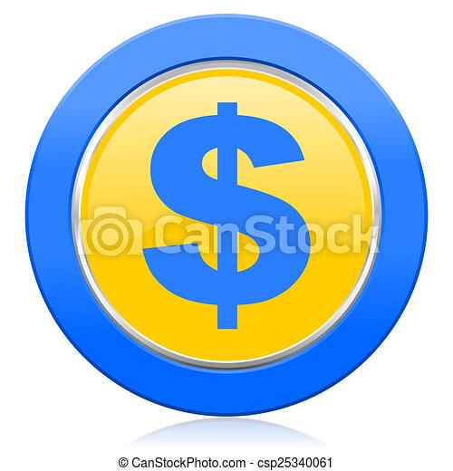 dollar blue yellow icon us dollar sign - csp25340061