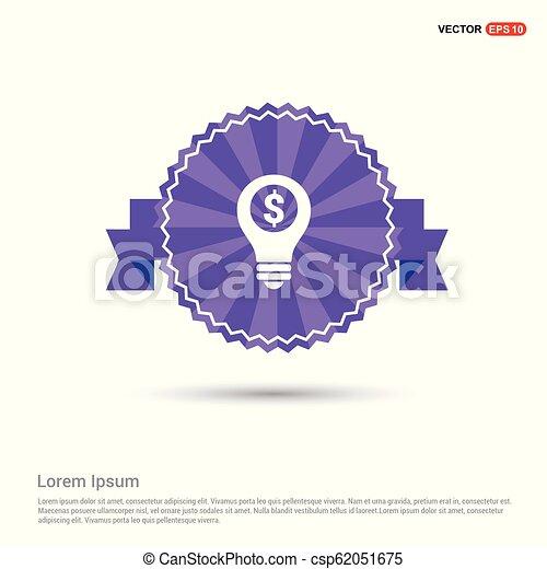 Dollar Bulb Icon - Purple Ribbon banner - csp62051675