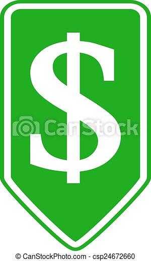 Dollar button. - csp24672660
