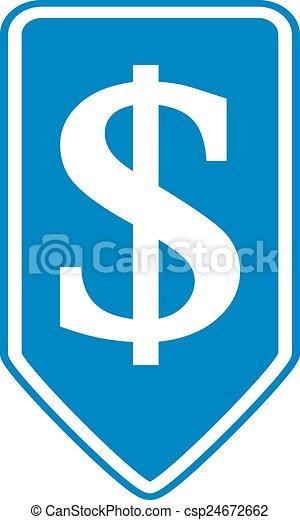 Dollar button. - csp24672662
