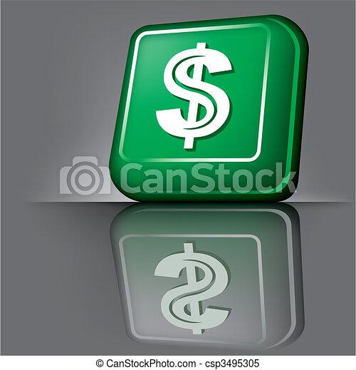 dollar button - csp3495305