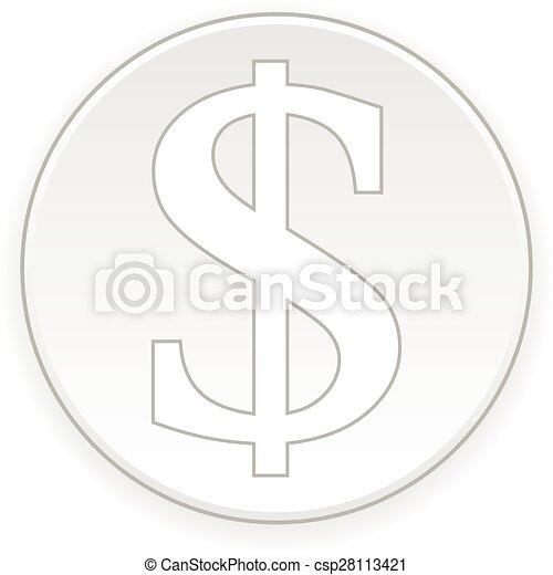 Dollar button. - csp28113421