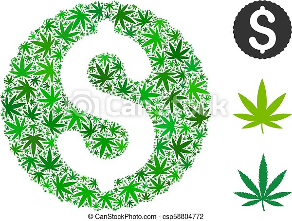 Dollar Coin Mosaic of Hemp Leaves - csp58804772