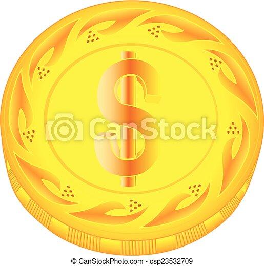 Dollar coin - csp23532709