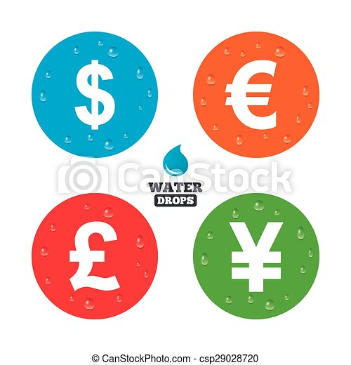 Dollar, Euro, Pound and Yen currency icons. - csp29028720