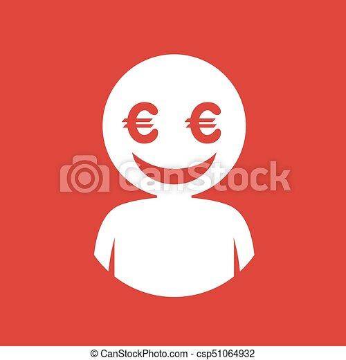 dollar face flat icon draw - csp51064932