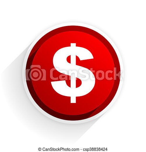 dollar flat icon with shadow on white background, red modern design web element - csp38838424